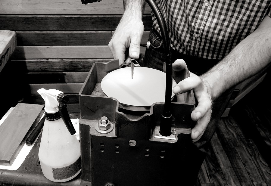 Hair scissor sharpening in action